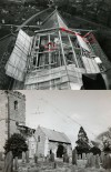 Replacing the Church roof after the Church fire in 1965