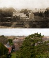 View over Rawlins School from the Church tower – then and now