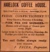 Advertisement by F. Facer (Havelock Coffee House), Quorn, 1891