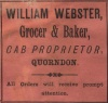 Advertisement by William Webster, Quorn, 1891