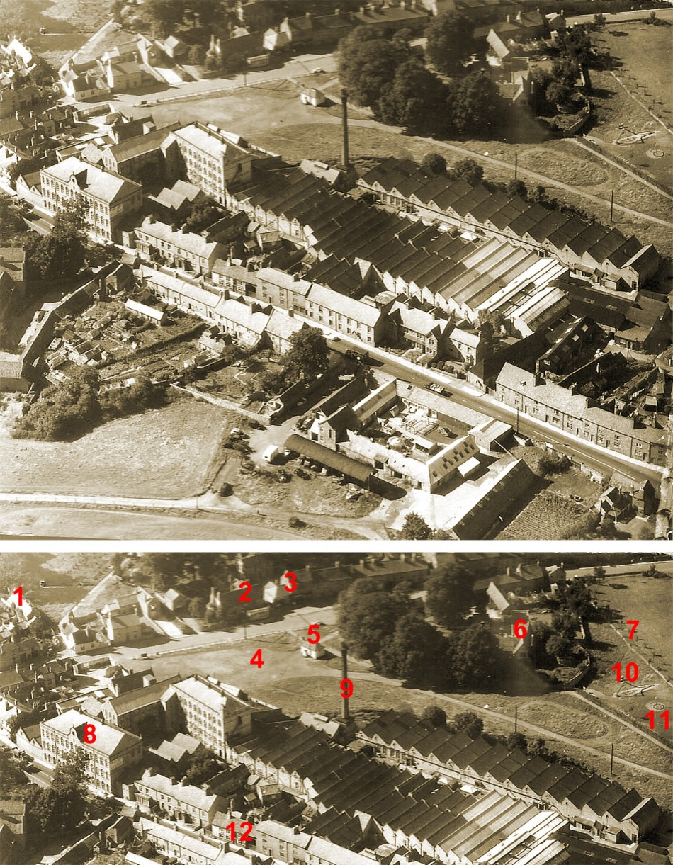 Aerial view of Wright's factory and surrounding area - approx 1952