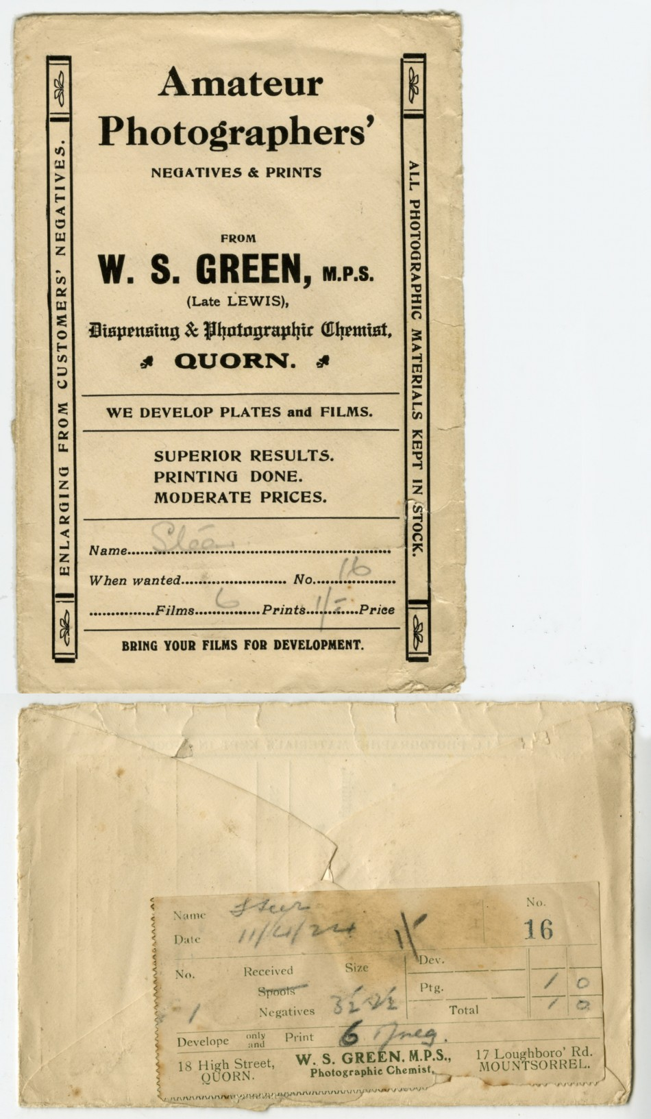 Photographic envelope from Green's chemist, Quorn